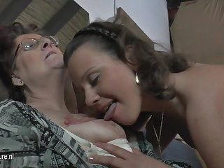 Natural bush-leaguer 3 old and young lesbians fuck each other