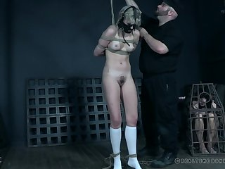 Teen blonde with pigtails Dolly Mattel tortured in a miniskirt