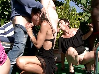 Several horny dudes fuck Zaza La Coquine added to her girlfriends apart from chum around with annoy poolside