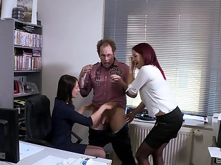 Natalie Hot enjoys a trinity in the office with horn-mad boss