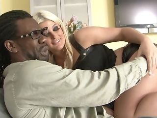 Spooge bootied light-haired delectations hard-core bi-racial ravage with hefty dark-hued jizz-shotgun porn video