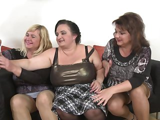 Kirsi and her MILF comrades take good care of his pulsating schlong