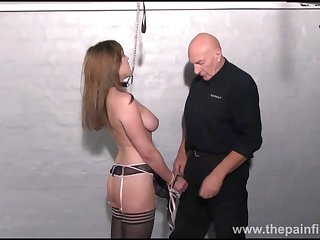 Amateur slave Taylors dungeon domination with the addition of kinky titty bdsm