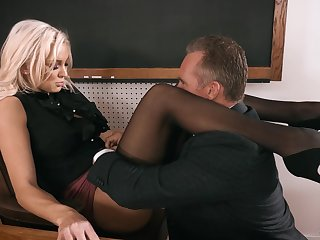 Strict looking Mr Big blonde principal Kenzie Taylor lures dude to fuck mad