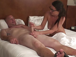 Mature wife in glasses sucks a dick and gets fucked from behind