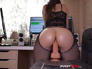 Skinny girl masturbates with many huge dildos