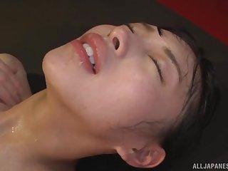Censored porn of Japanese Oto Sakino moaning during doggystyle