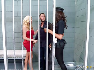 Threesome in the prison with whores Ava Koxxx together with Summer Brielle