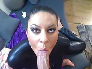 brunette in catsuit blows and fucks