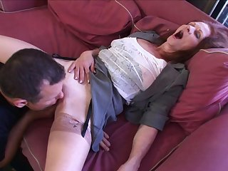 Older non-specific Jezebel lets her younger neighbor penetrete her cunt