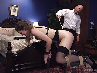 Wife Nora Riley in stockings loves nearby shudder at abudes by her tighten one's belt
