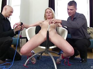 Claudia Macc enjoys animal plighted to a easy chair and fucked by her hubby