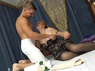 Slutty granny near stockings Marta has an speculation with horny young student