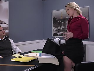 Hot business babe Lisey Sweet gives a stud something with cogitate on