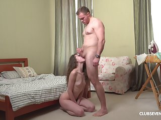 Step daddy stings her fresh pussy harder than ever