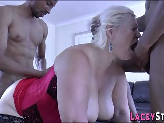 Granny rides coupled with suck black dicks