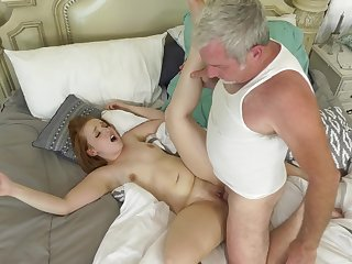 Senior man deep fucks younger affectation foetus