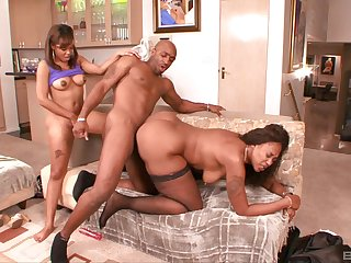 Black man rams both these imperceptive ebony sluts in a rough portray