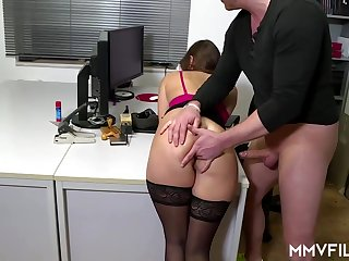 Lickerish office nymph is frequently wearing ebony pantyhose and possessions analed rigid, after a long time at work
