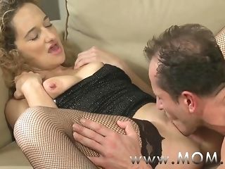 Mommy nasty curly haired cougar object pummeled on someone's skin couch porn video