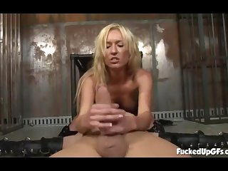 Sexy Blonde Dominant Strokes Slave's Renowned Screw-up And Blows - Victoria White