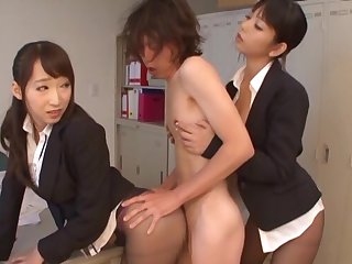 Hardcore FFM threesome with Hasumi Kurea wearing nylon underwear