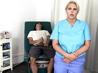 Sensuous, blondie nurse is using every chance to get screwed, even even if she is going forward